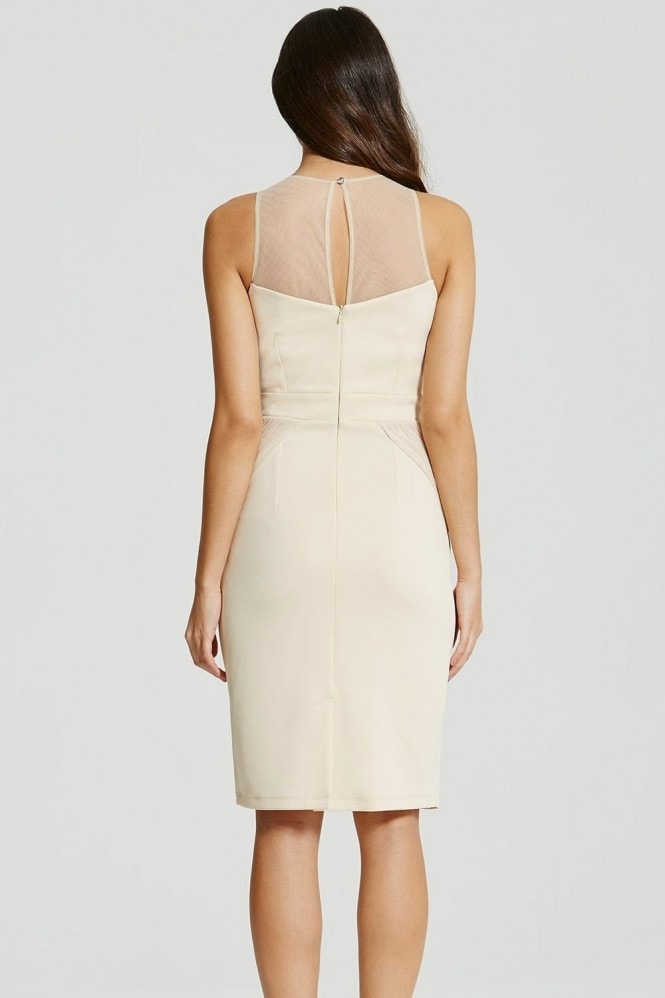 Beige Embellished Pleat Bodycon Midi Dress
