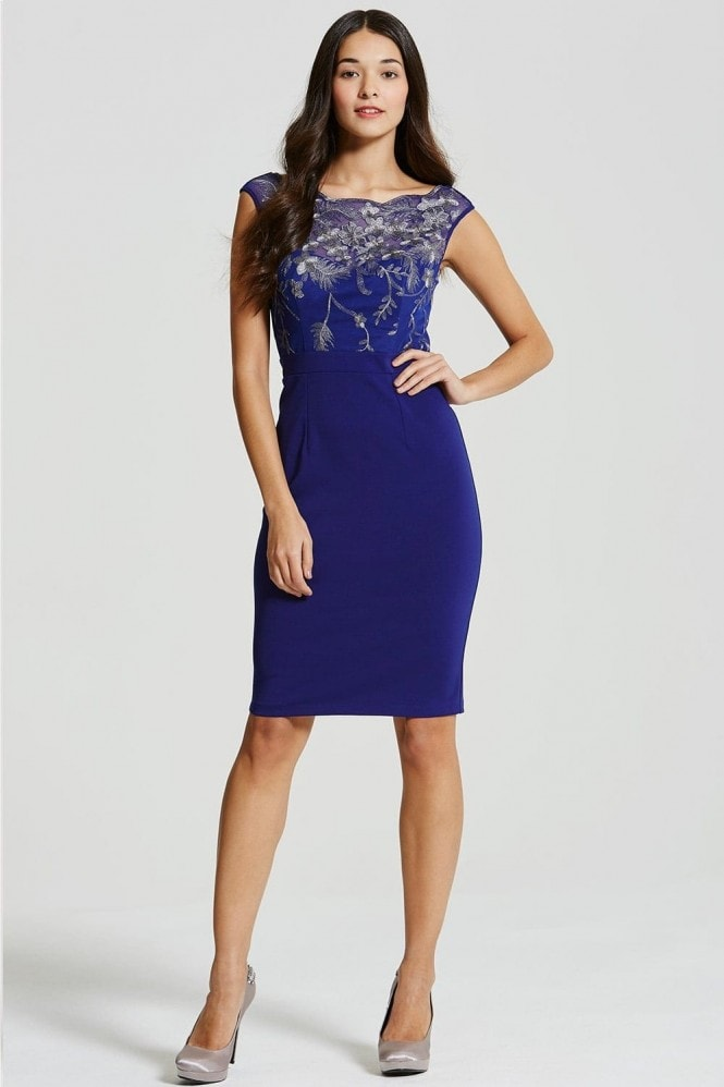 Cobalt and Gold Embroidered Dress