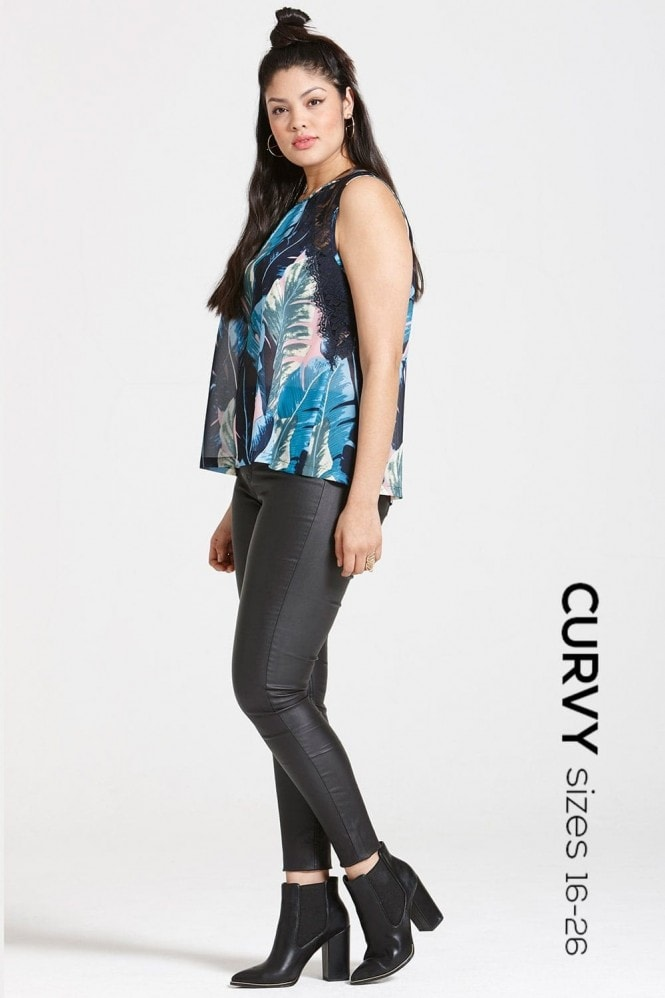 Girls On Film Curvy Blue Print and Black Lace Top