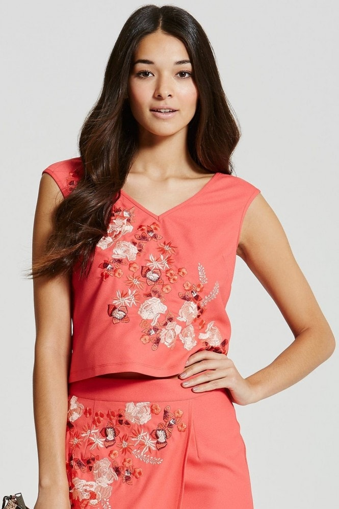 Coral V Neck Embroidered Box Top