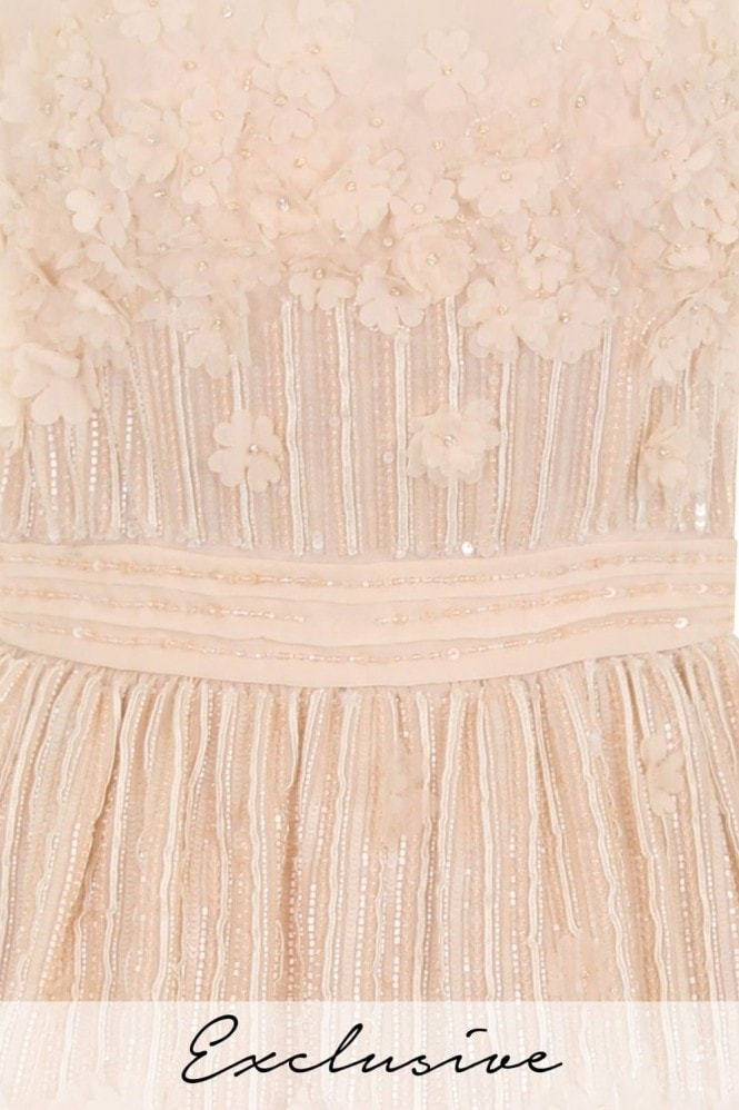 Nude Mini Petal Sequin Prom Dress
