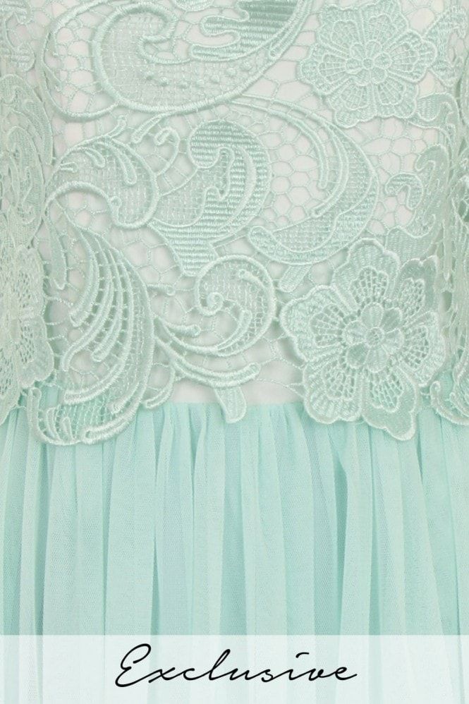 Little Mistress Mint and Cream Lace Overlay Bandeau Prom Dress