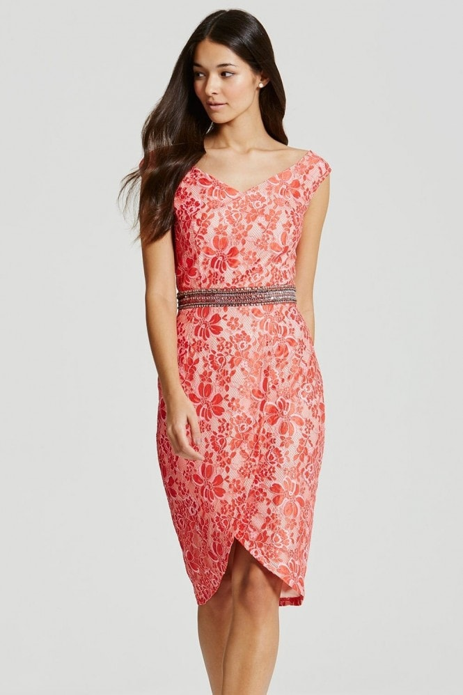 Coral Lace Embellished Waist Bodycon Dress