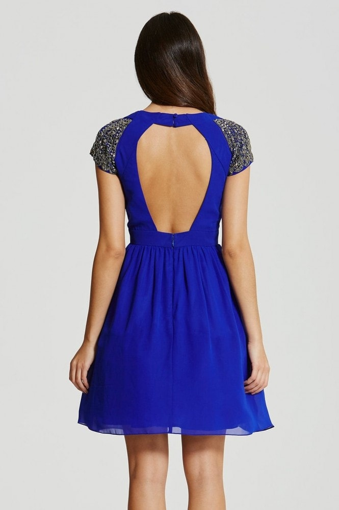 Blue Exposed Back Embellished Prom Dress
