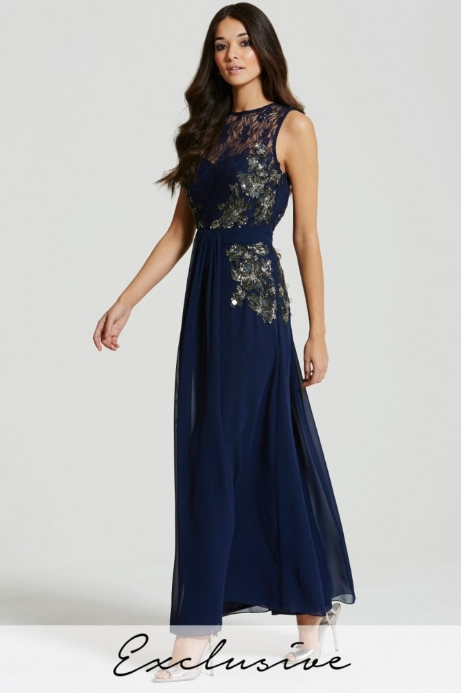 Little Mistress Blue Embellished Sheer Lace Maxi Dress