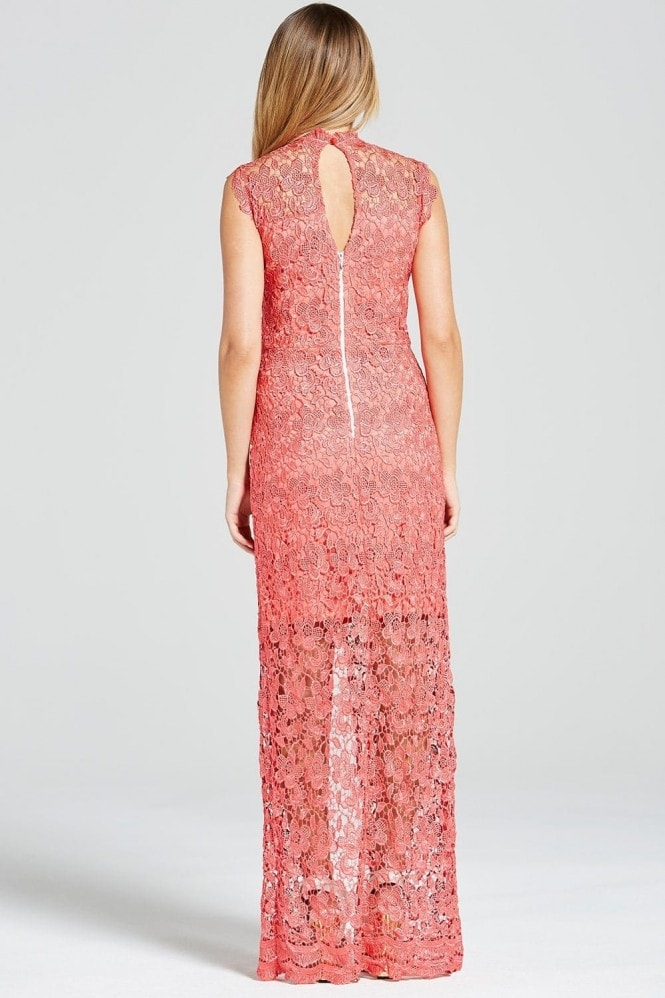 Outlet Paper Dolls Coral Crochet Split Front Maxi Dress