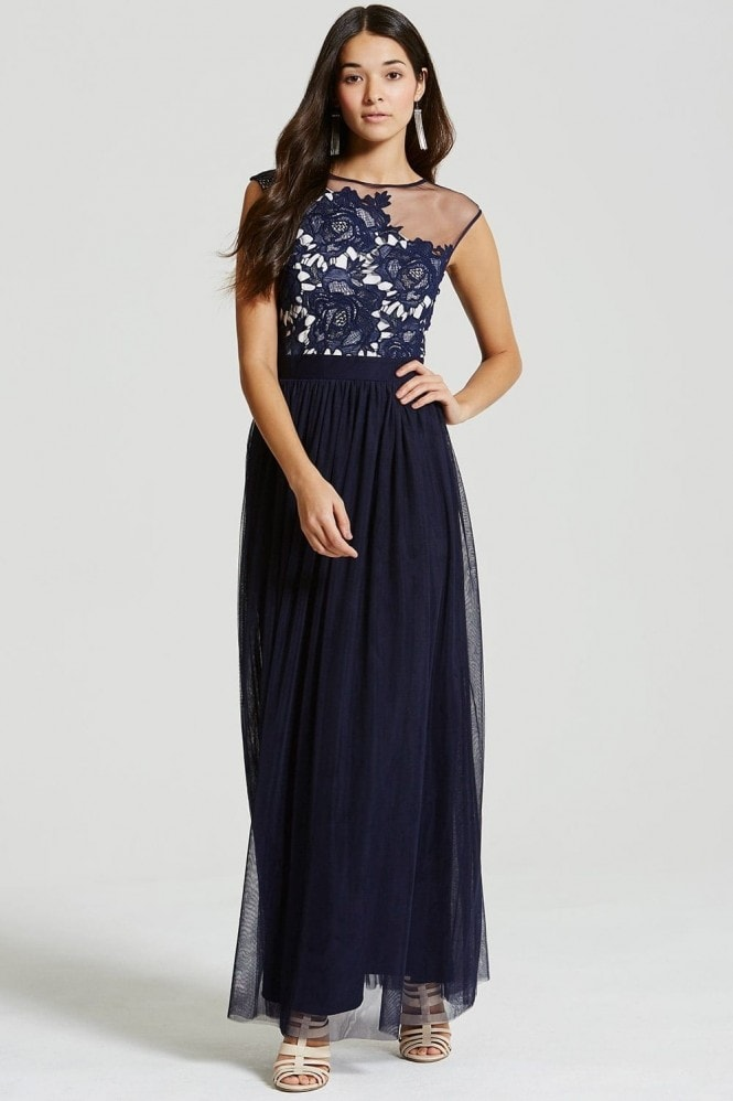 Little Mistress Navy Crochet and Sheer Maxi Dress