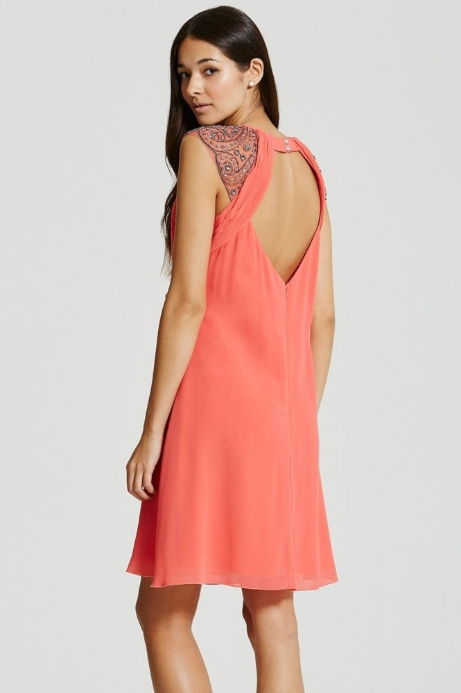 Little Mistress Coral Embellished Open Back Shift Dress