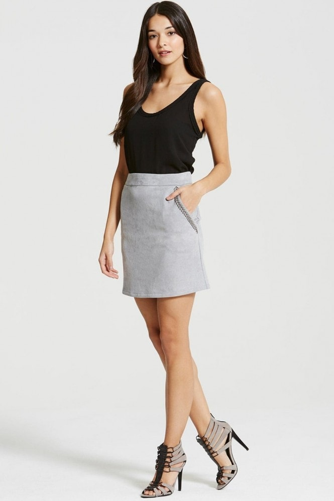 Outlet Girls On Film Light Grey Suede Skirt