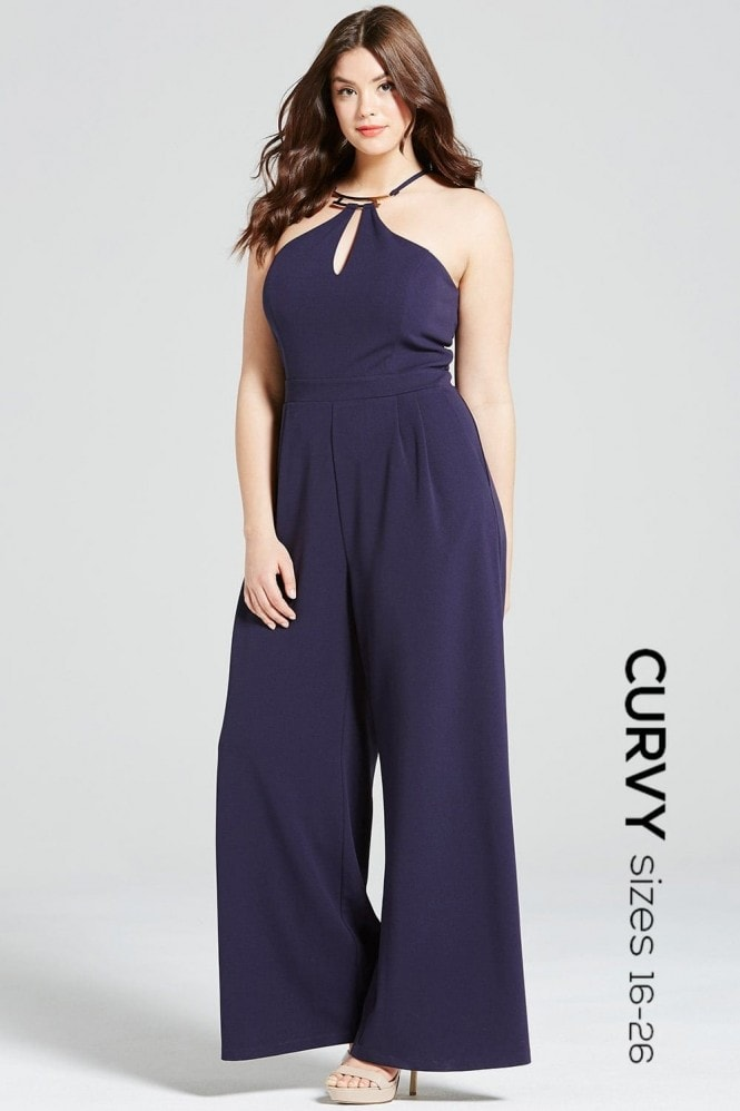 Girls On Film Curvy Navy and Gold Neck Jumpsuit