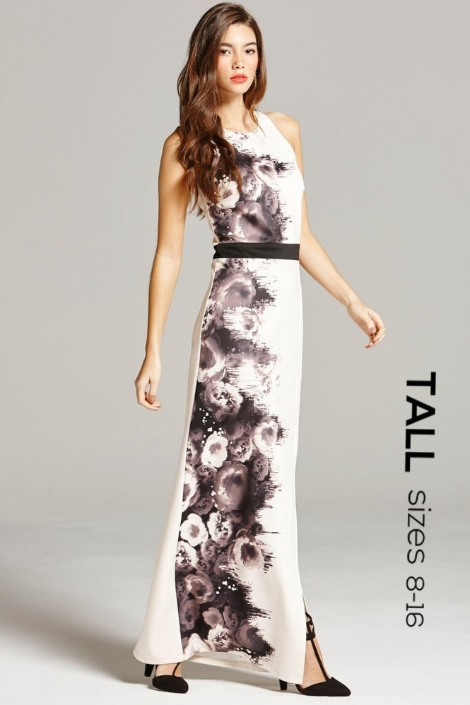 Outlet Paper Dolls Black and Nude Rose Print Maxi Dress