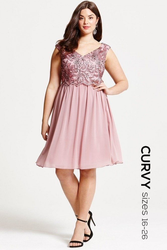 Little Mistress Curvy Dusty Pink Embroidered Prom Dress