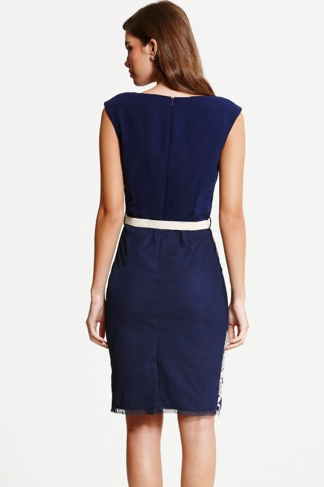 Little Mistress Navy Embroidered Cowl Neck Bodycon Dress