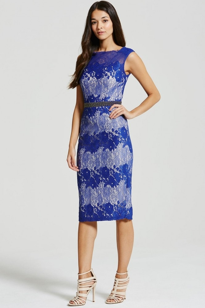 Little Mistress Cobalt Lace Embellished Bodycon Midi Dress