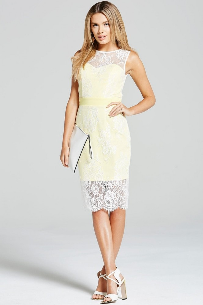 Paper Dolls Lemon and Cream Lace Overlay Dress