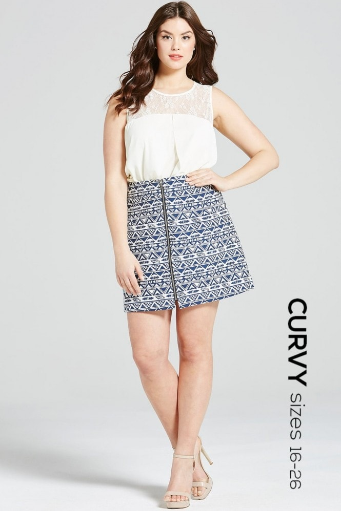 Outlet Girls On Film Navy Aztec Zip Front Skirt