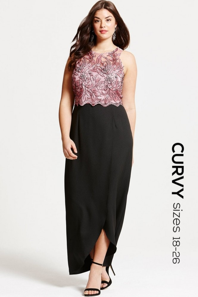Little Mistress Curvy Dusty Pink Embroidered Overlay Maxi Dress