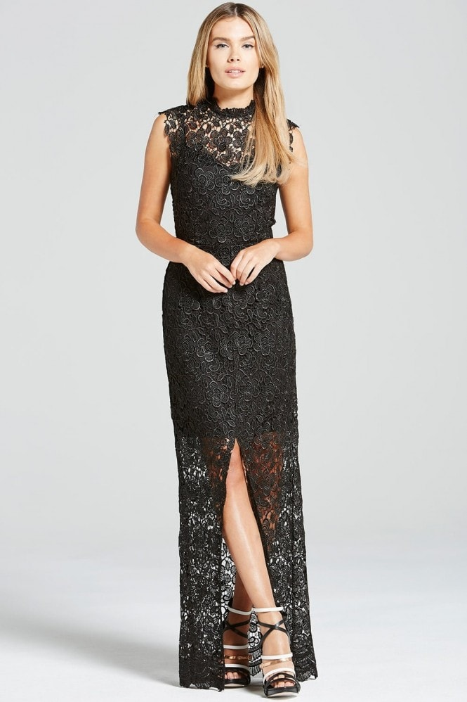 Paper Dolls Black Crochet Split Front Maxi Dress