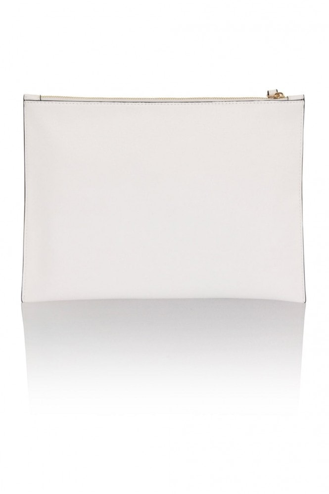 Little Mistress Handbags White Cut Out PU Flat Clutch Bag
