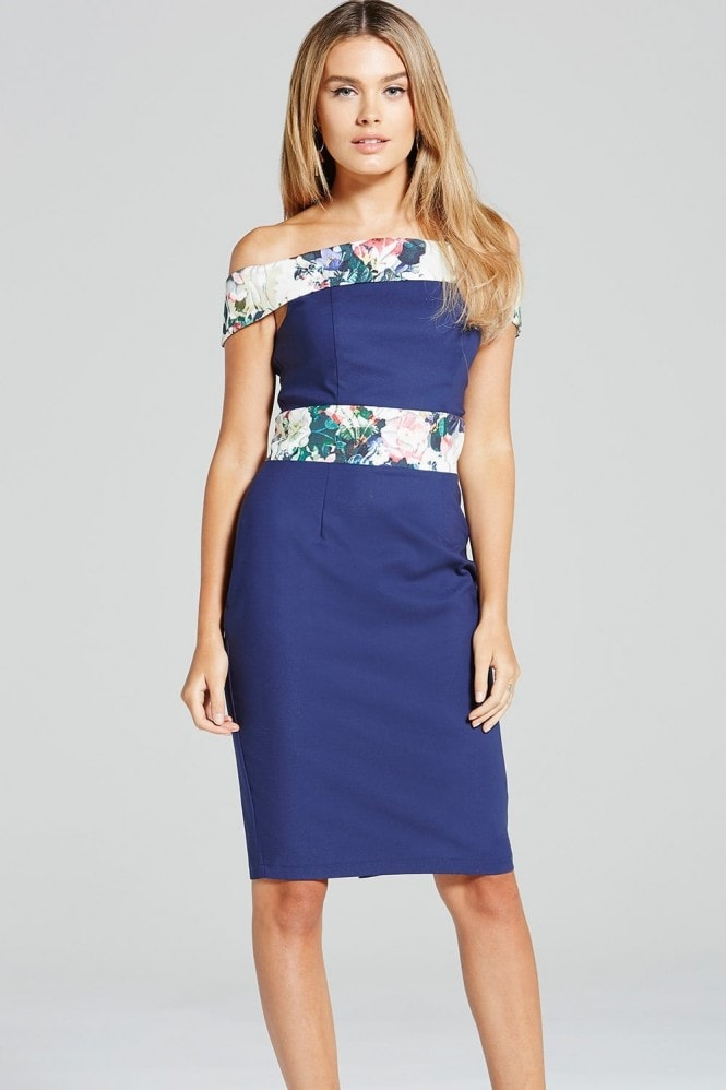 Paper Dolls Navy and Floral Print Bardot Dress