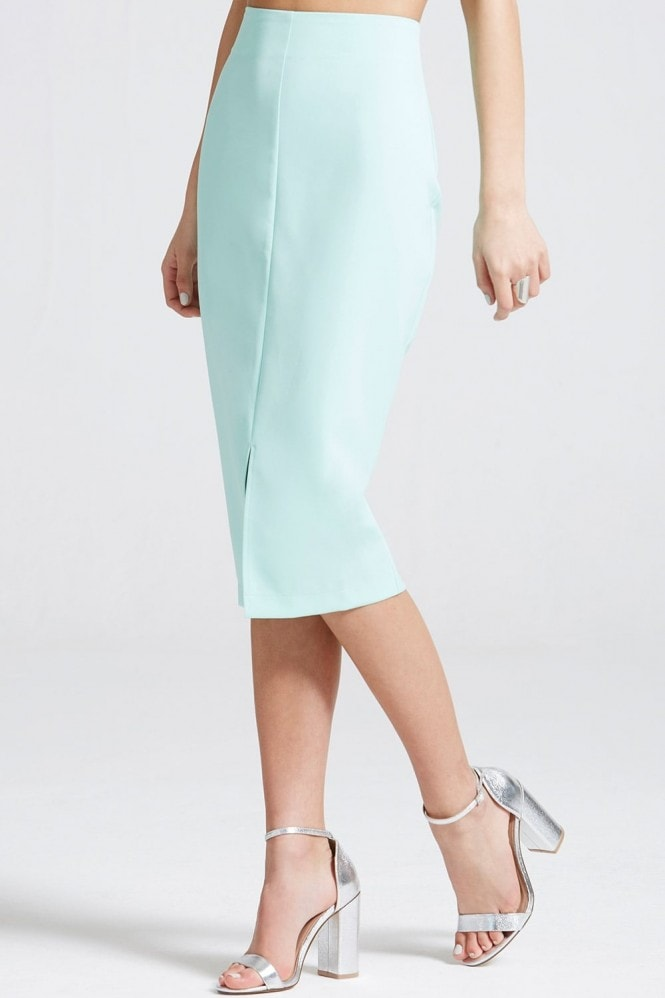 Outlet Girls On Film Aqua Blue Pencil Skirt