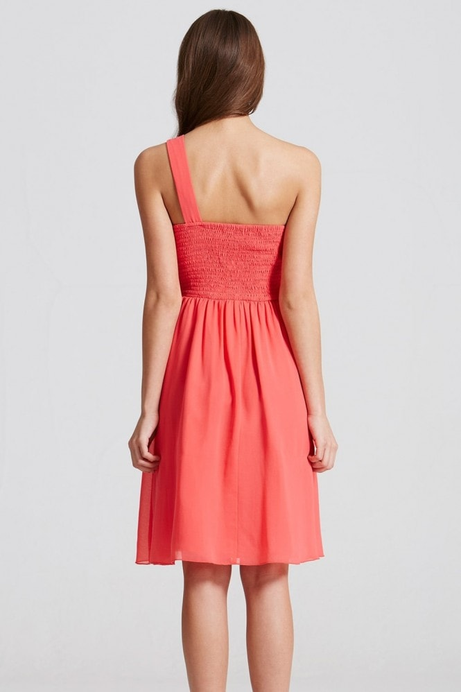 Little Mistress Coral Embellished Waist Mini Dress