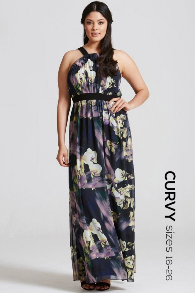 Little Mistress Curvy Floral Print Occasion Maxi Dress