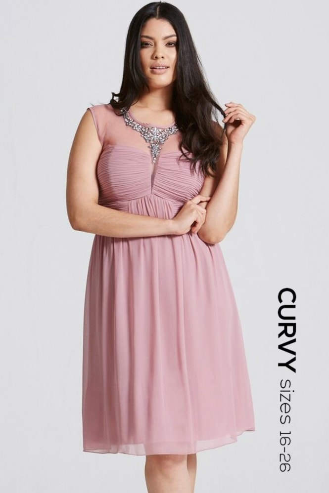 Little Mistress Curvy Dusty Pink Embellished and Drape Front Prom Dress