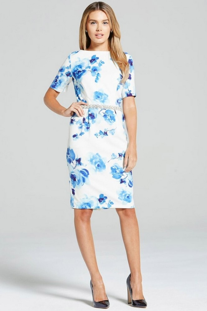Paper Dolls Blur Rose Print Wiggle Dress