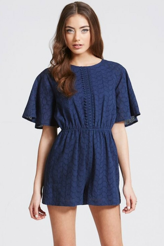 Girls on Film Navy Crochet Lace Playsuit