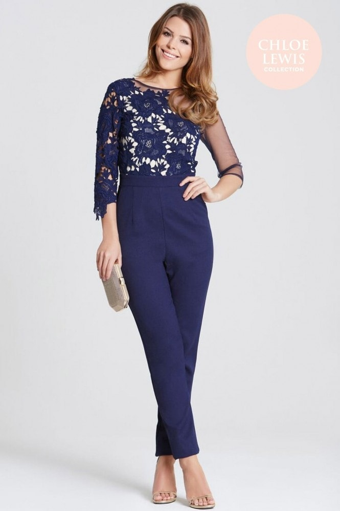 Chloe Lewis Collection Navy Crochet and Sheer Jumpsuit
