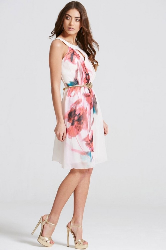 Little Mistress Blur Print Chiffon Prom Dress