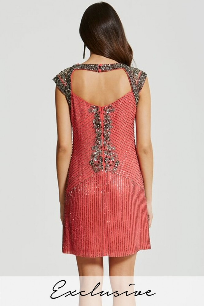 Little Mistress Coral Heavily Embellished Mini Dress
