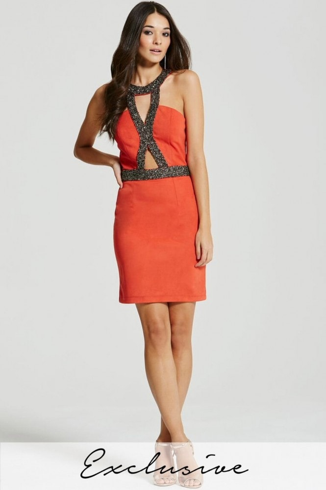 Coral Embellished Cut Out Bodycon Dress