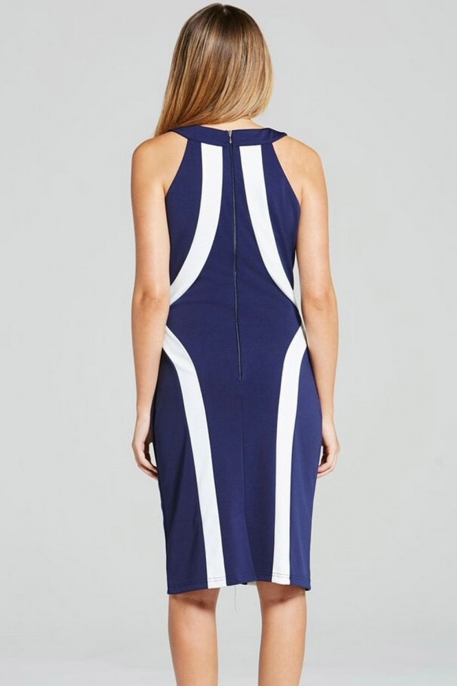 Paper Dolls Navy and Cream Illusion Bodycon Dress