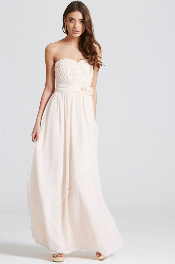 Nude Bandeau Drape Front Maxi Dress