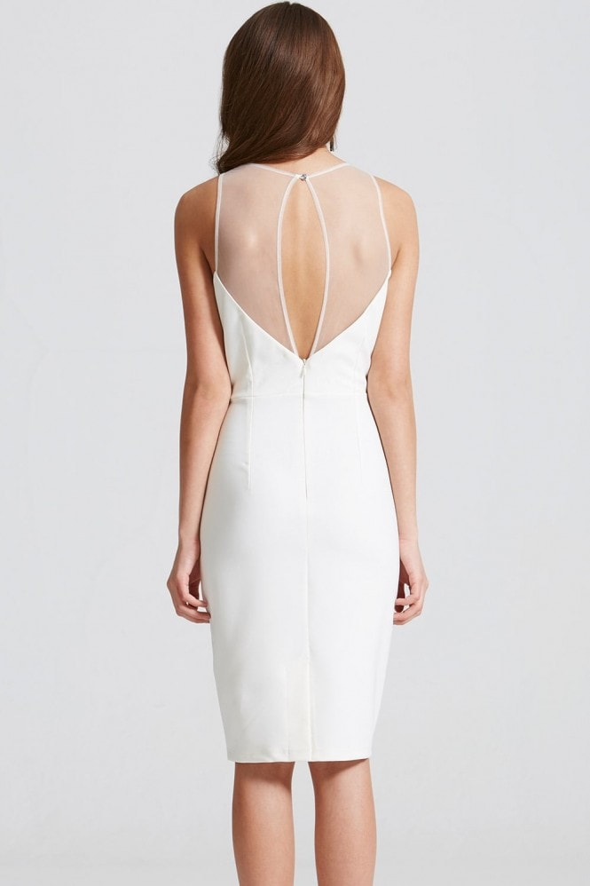 Little Mistress Cream Embroidered Sheer Bodycon Dress