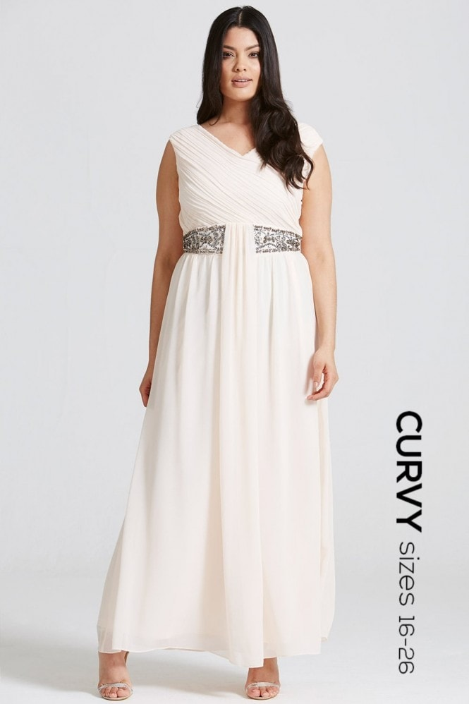 Nude Drape Maxi Dress with Embellishment
