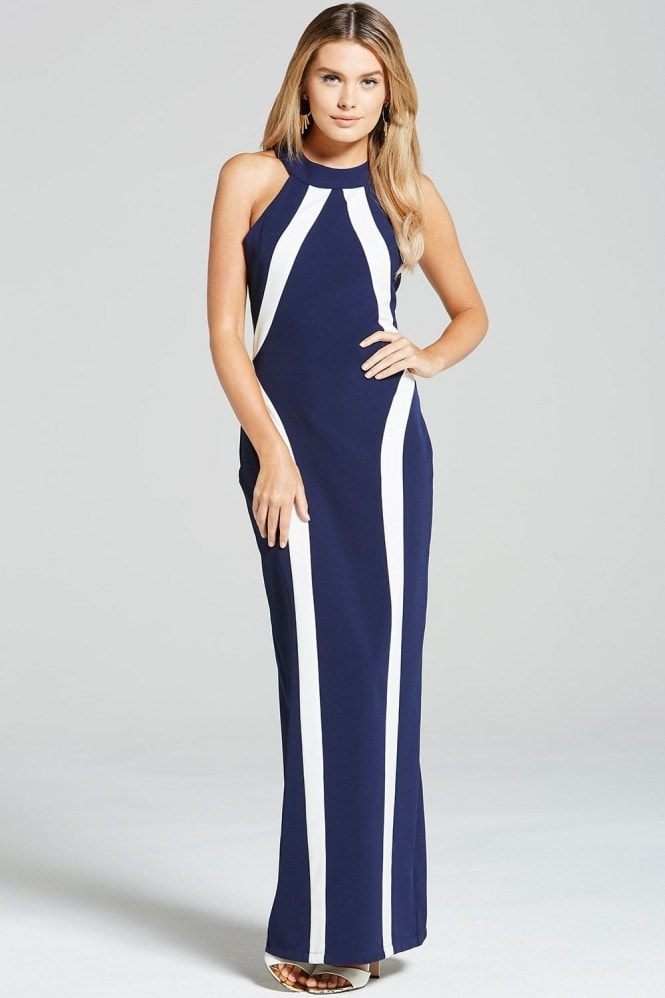 Paper Dolls Navy and Cream Illusion Maxi Dress