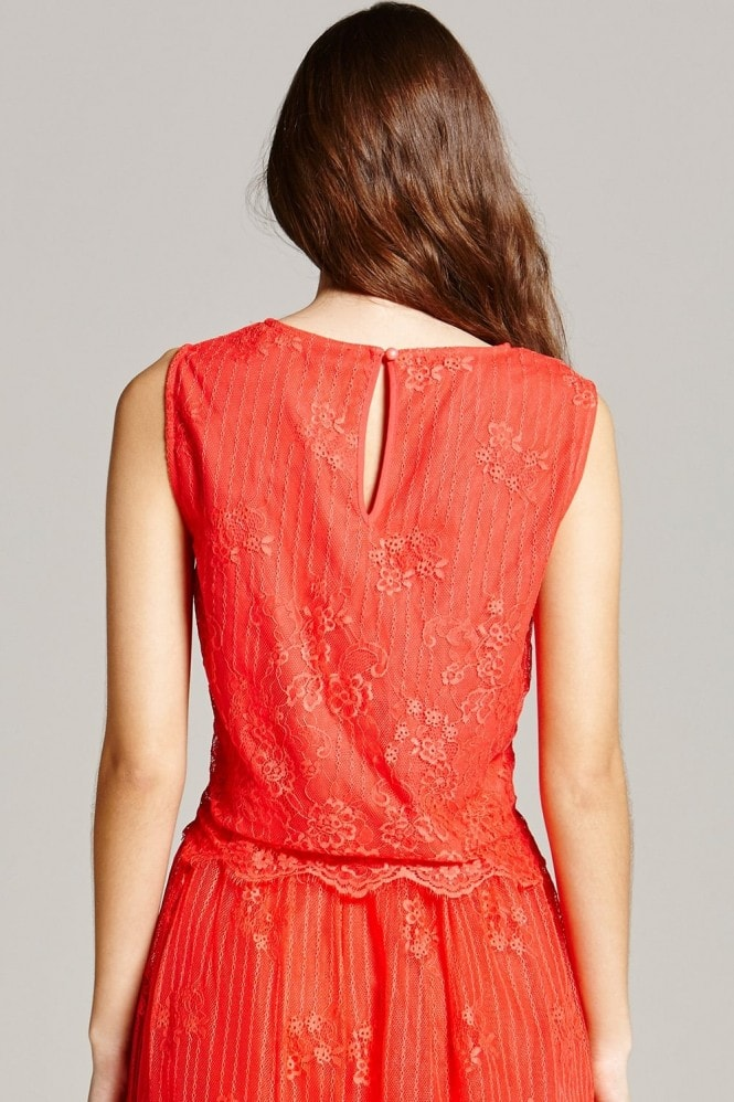 Little Mistress Papaya Lace Scallop Hem Top
