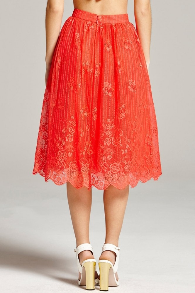 Little Mistress Papaya Lace Scallop Hem Skirt