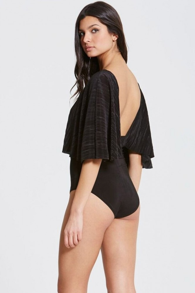 Outlet Girls On Film Black Pleated Slinky Bodysuit
