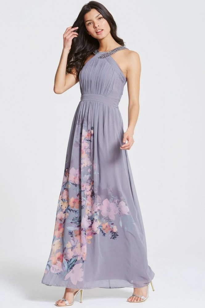 Grey Floral Print Chiffon Maxi Dress
