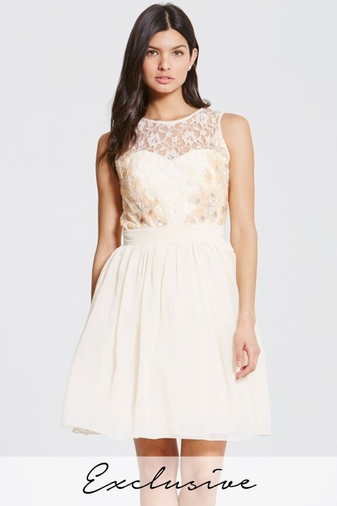 Little Mistress Nude Lace Beaded Prom Dress