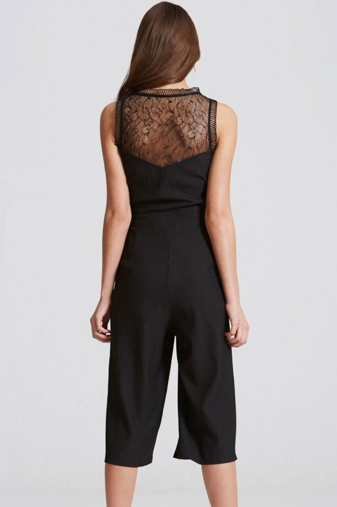 Little Mistress Black Crochet and Lace Culotte Jumpsuit