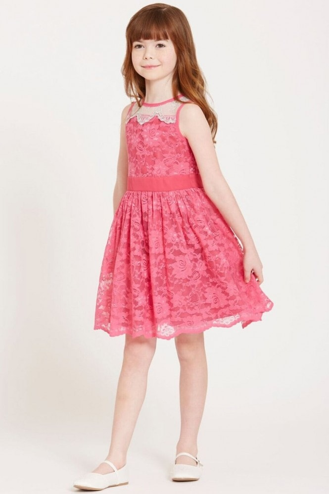 Little MisDress Pink Sheer Lace Dress
