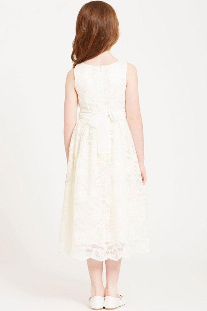 Little MisDress Cream Lace and Pearl Collar Dress