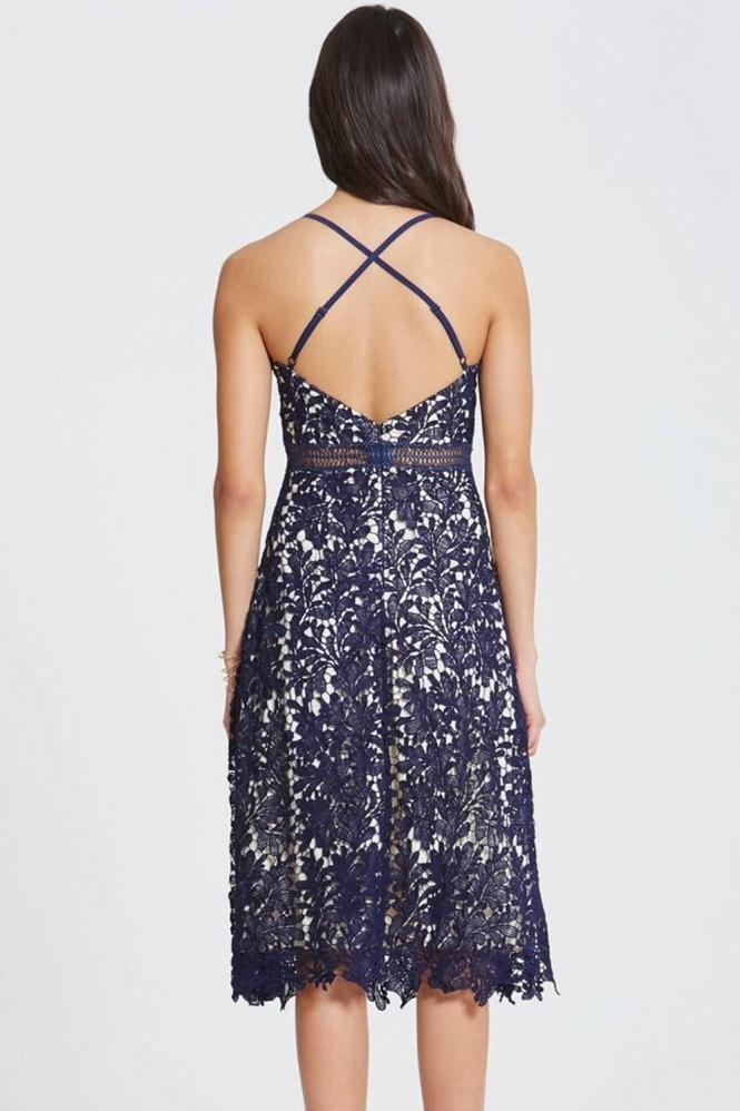 Little Mistress Navy Crochet Strappy Slip Dress