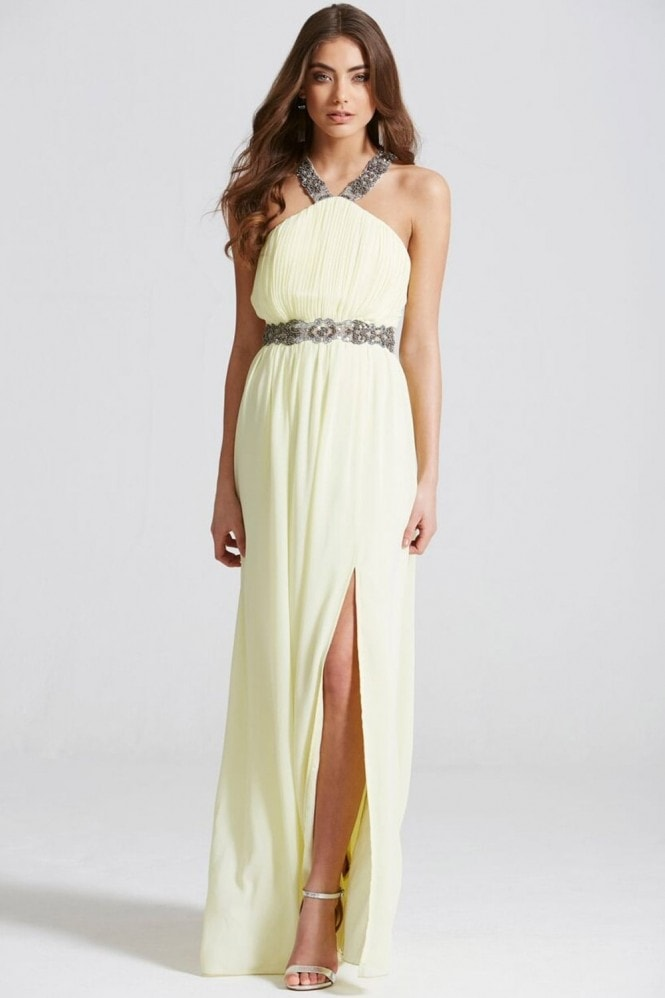 Little Mistress Lemon Embellished Exposed Back Maxi Dress