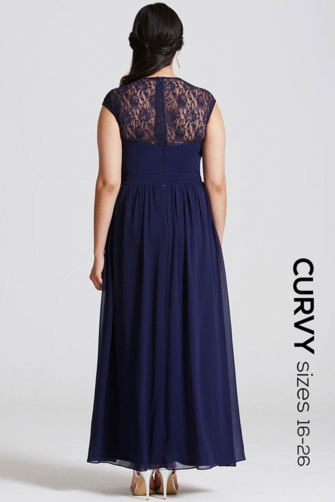 Little Mistress Curvy Navy Sheer Lace Maxi Dress